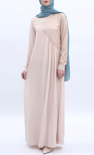 Assymetrical Stylish Abaya - Light Pink - *Size Up* - EastEssence.com