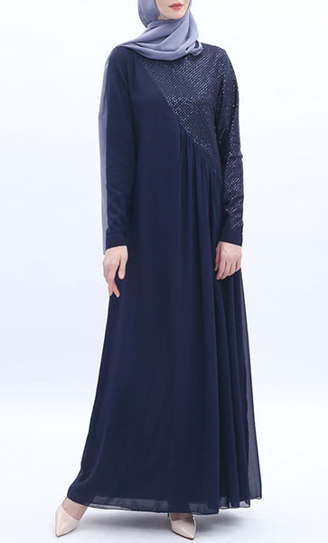 Assymetrical Stylish Abaya - Navy Blue - *Size Up* - EastEssence.com