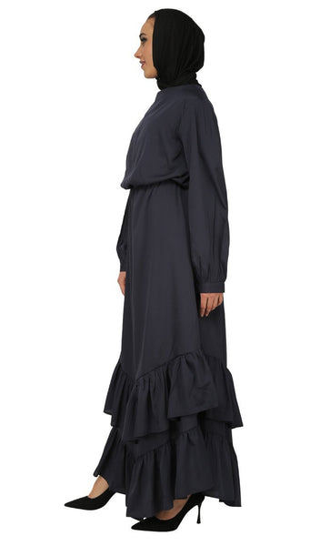 Assymetrical Twist Detail Long Abaya Dress - EastEssence.com