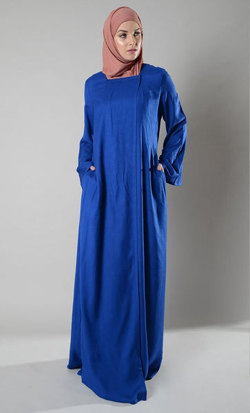 Asymetrical Front Open Snap button Abaya Duster - EastEssence.com