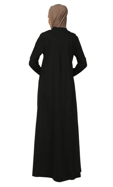 Asymmerical Cut Loose Fitted Abaya Dress - EastEssence.com