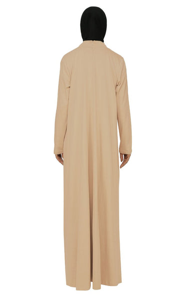 Asymmetrical And Pleated Casual Wear Abaya Dress - EastEssence.com