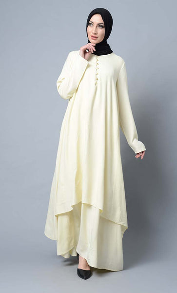 Asymmetrical double layered modest wear muslimah abaya dress - EastEssence.com
