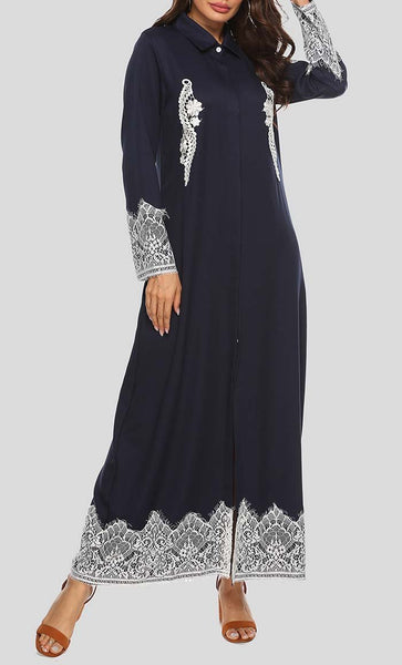 Autumn Breeze Solid Laced Abaya - Navy - *Size Up* - EastEssence.com