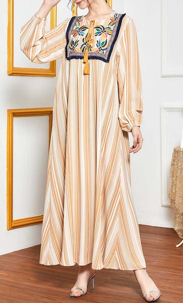 Barcode Stripe Printed Abaya With Embroidery - *Size Up* - EastEssence.com