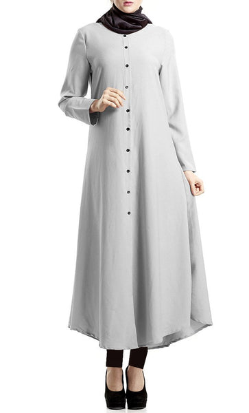 Basic Button Down Long Tunic Dress (Grey) - *Size Up* - EastEssence.com