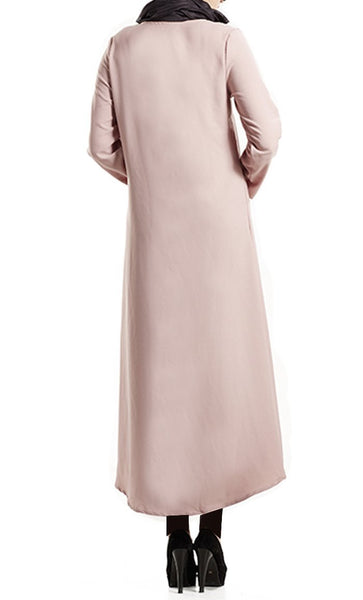 Basic Button Down Long Tunic Dress (Pink) - *Size Up* - EastEssence.com