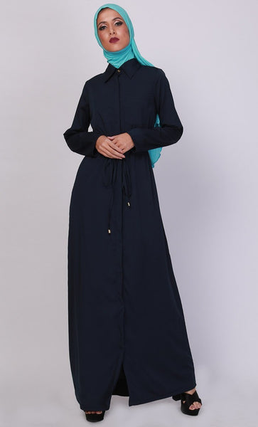Basic Drawstring Detail Everyday Wear Abaya Dress - EastEssence.com