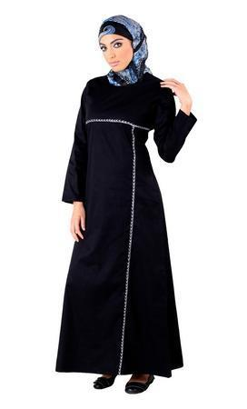 Basic Embroidered Trim Abaya Dress - EastEssence.com