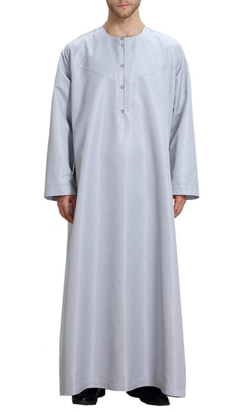 Basic Everyday Full Sleeves Men's Thobe (Gray)-*Size Up* - EastEssence.com
