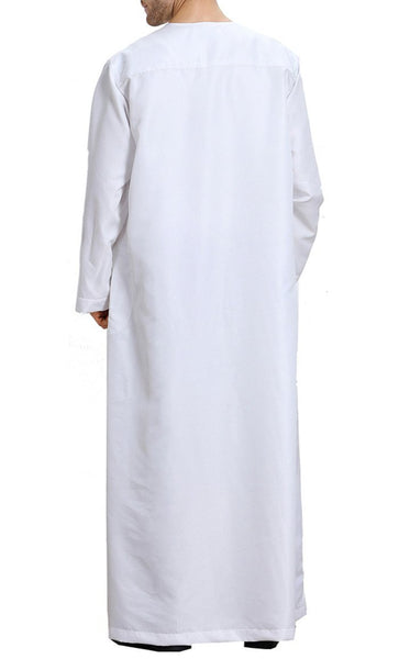 Basic Everyday Full Sleeves Men's Thobe (White)-*Size Up* - EastEssence.com
