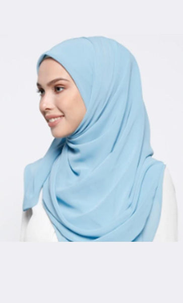 Basic Everyday Wear Georgette Hijab Stole - Light Blue - EastEssence.com