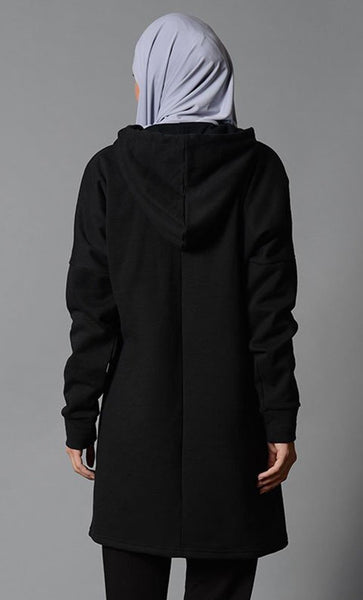 Basic Extra Long Loose Hoodie - EastEssence.com