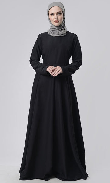 Basic Front Box Pleat Abaya With Pockets - EastEssence.com