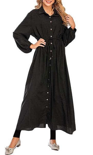 Basic Front Button Down Abaya - *Size Up* (Black) - EastEssence.com
