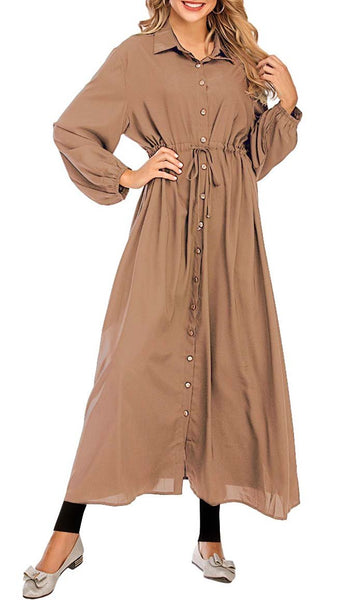 Basic Front Button Down Abaya - *Size Up* (Brown) - EastEssence.com