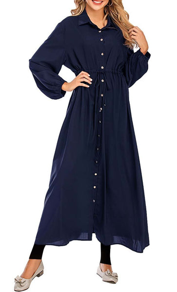 Basic Front Button Down Abaya - *Size Up* (Navy) - EastEssence.com