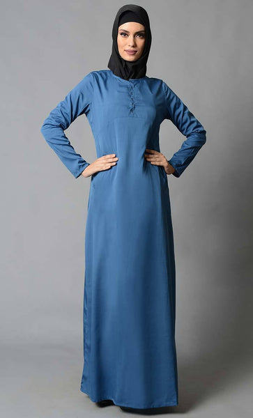 Basic Front Button Everyday Wear Abaya Dress - EastEssence.com