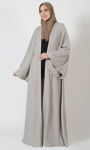 Basic Front Open Bell Sleeves Duster - EastEssence.com
