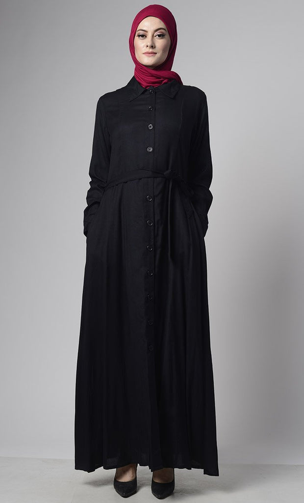 Details about  /Collared Everyday Wear Basic Abaya Dress