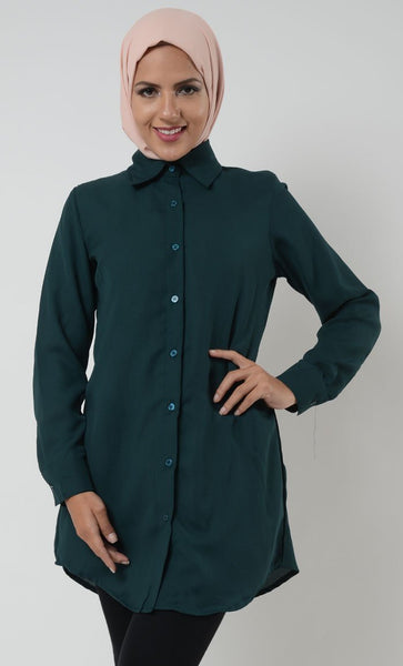 Basic Moss Crepe Button Down Uniform Tunic - EastEssence.com