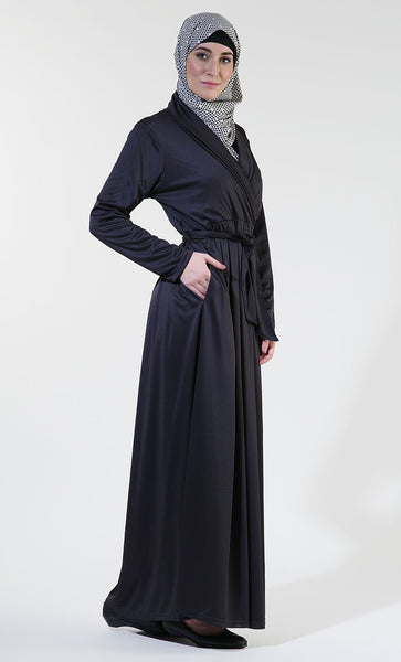 Basic wrap around style everyday wear abaya dress - EastEssence.com