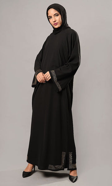 Beads Embroidered Bell Sleeves Abaya Dress - EastEssence.com
