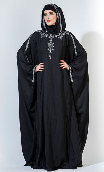 Beads embroidered kaftan style abaya dress - EastEssence.com