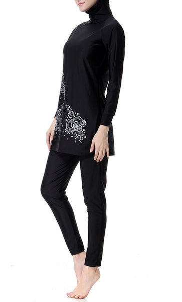 Beautiful Detailed Swimwear Burkini (Black)-*Size Up* - EastEssence.com