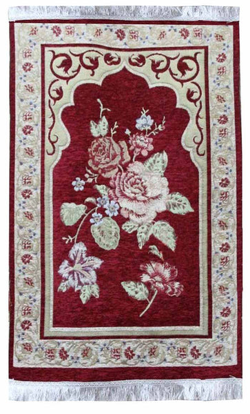 Beautiful Flower Prayer Rug-Red - EastEssence.com