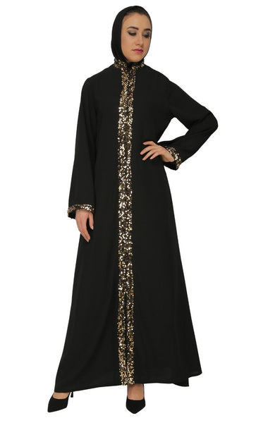 Beautiful Front Embroidered Sequin Abaya Dress - EastEssence.com