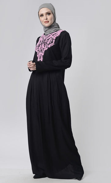 Beautiful Hand Work Neck Patch Abaya With Pockets - EastEssence.com