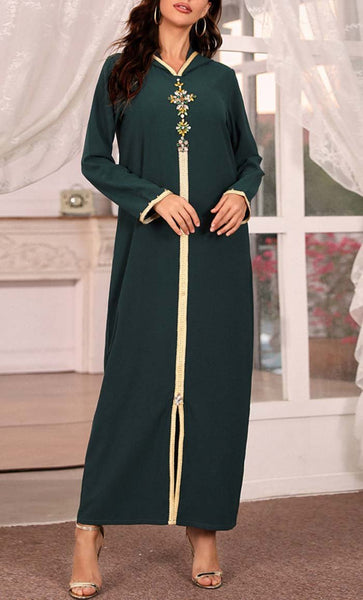 Beautiful Hooded With Stone & Ribbon Detail Abaya - *Size Up* - EastEssence.com