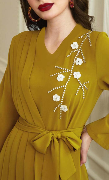 Beautiful Mustard Applique Work With Pleated Panel Abaya - *Size Up* - EastEssence.com