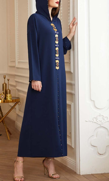 Beautiful Navy Hooded With Stone Detail Abaya - *Size Up* - EastEssence.com