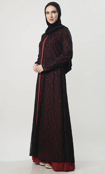Beautiful Net Shrug Abaya With Lining - EastEssence.com