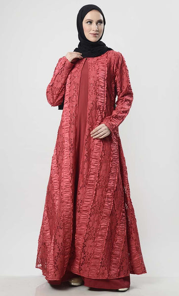 Beautiful Net Shrug Abaya With Matching Lining - EastEssence.com