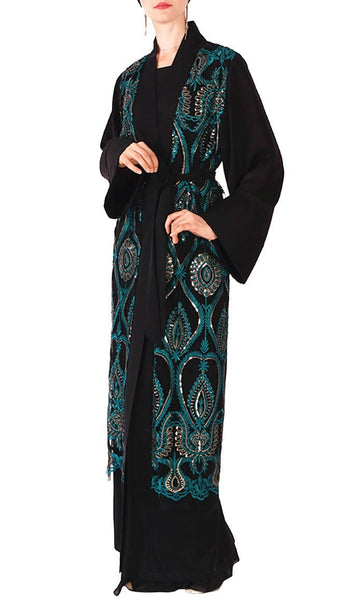 Beautiful patterned bisht/duster (Black/Green) - *Size Up* - EastEssence.com