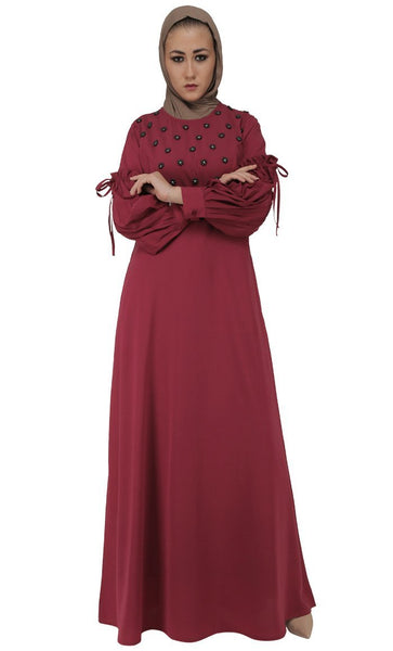 Beautiful Pearl Applique Work Abaya Dress - EastEssence.com