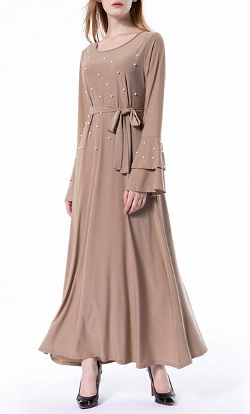 Beautiful Pearl Detailed Abaya (Apricot)- *Size Up* - EastEssence.com