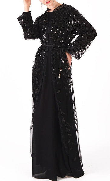 Beautiful sequin classy bisht/duster (Black) - *Size Up* - EastEssence.com