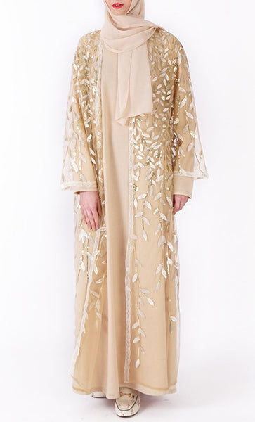 Beautiful sequin classy bisht/duster (Champagne) - *Size Up* - EastEssence.com