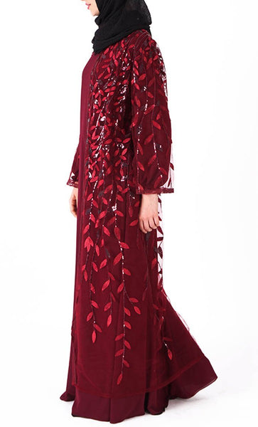 Beautiful sequin classy bisht/duster (Maroon) - *Size Up* - EastEssence.com