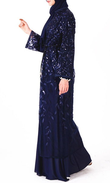 Beautiful sequin classy bisht/duster (Navy) - *Size Up* - EastEssence.com