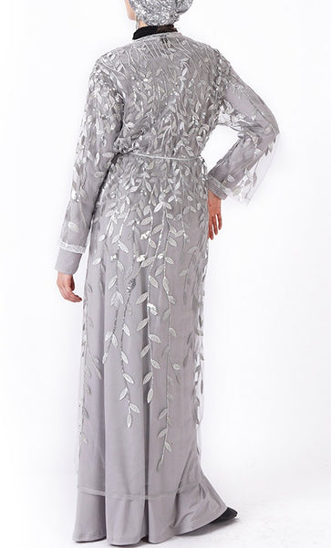 Beautiful sequin classy bisht/duster (Silver) - *Size Up* - EastEssence.com