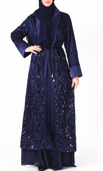 Beautiful sequin pattern bisht/duster (Navy) - *Size Up* - EastEssence.com
