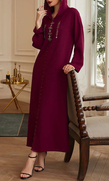 Beautiful Wine Red Hooded With Stone Detail Abaya - *Size Up* - EastEssence.com