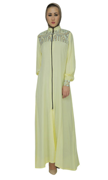 Beautifully Embroidered Front Zipper Abaya Dress - EastEssence.com