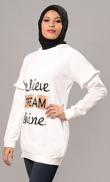 Believe Dream Shine Quoted Hoodie Sweatshirt - EastEssence.com