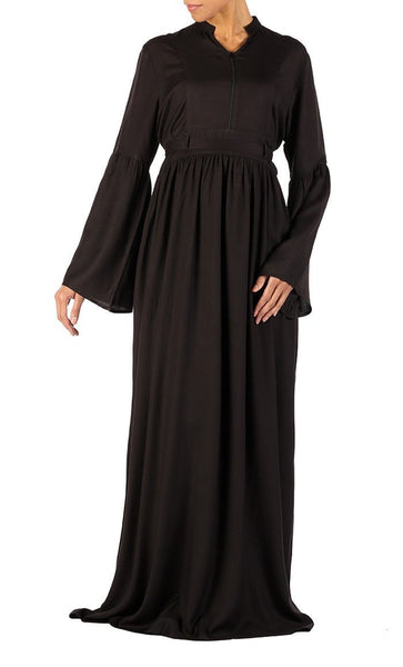 Bell sleeves and front zipper flared abaya dress - EastEssence.com